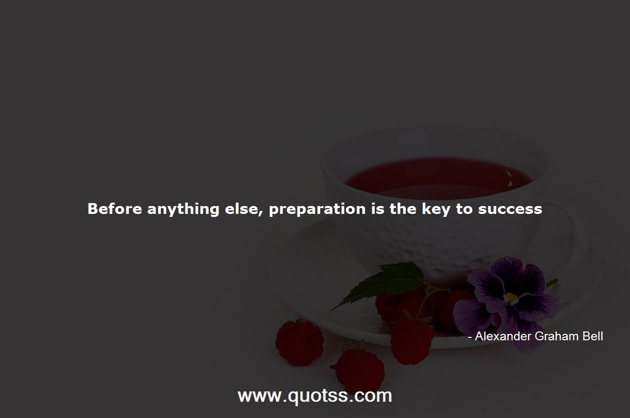 Before anything else, preparation is the key to success ...
